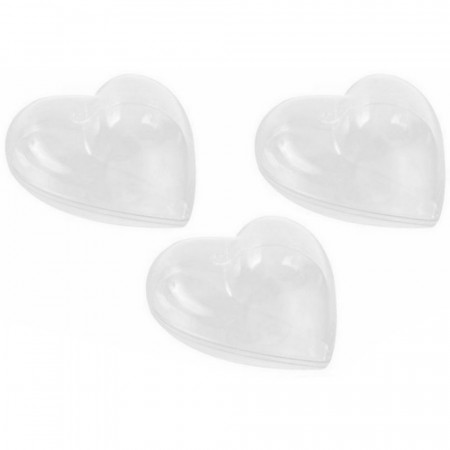 Set of 3 transparent plastic hearts 14 cm, separable, for self-filling
