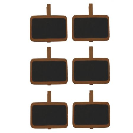 Set of 6 Rectangular Mini Slate, on wooden clip, brown, place mark