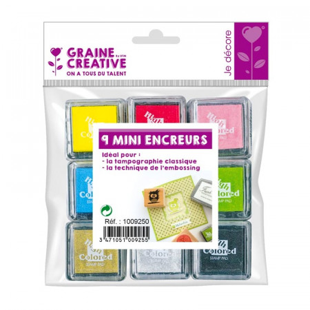 Kit of 9 mini inker 3 cm, bright colors, for Scrapbooking and pad printing