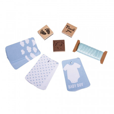 Kit Pendants for gifts, Baby Blue, stamps, ribbons, 30 sky blue labels