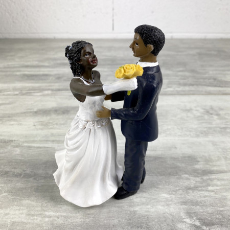 Black Bride and Groom Couple, Resin, bouquet in hand, 15 cm, wedding cake and wedding figurines