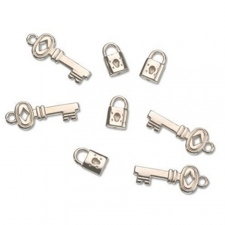 Set of 16 keys and 16 padlocks, style decorative-modern, silver plastic, for scattering, 20+35mm