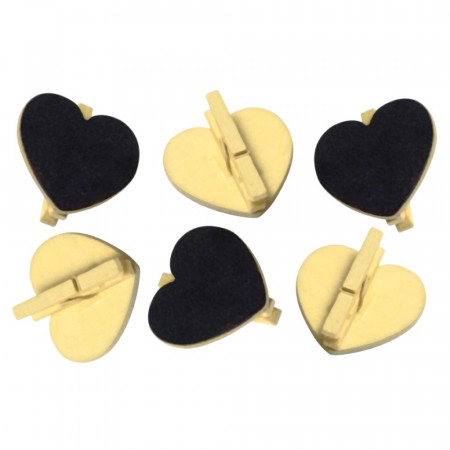 Big Bag of 20 Slates Heart shape on ivory wooden clip, 5x5.5 cm, Wedding place card