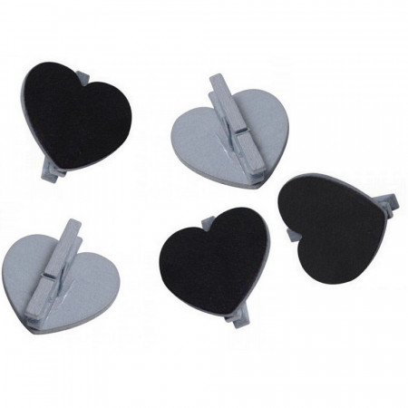 Big Set of 20 slate hearts on silver wooden clamp, 5x5.5 cm, Wedding place card