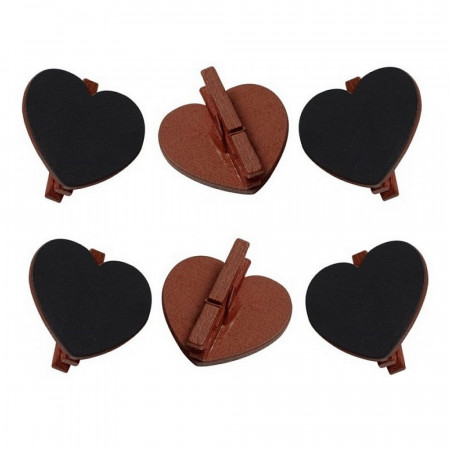 20 slate hearts on chocolat brown wooden clamp, 5x5.5 cm, Wedding place card