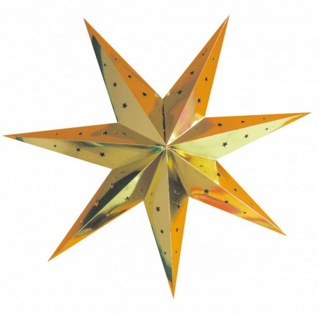 Large Golden Star Lantern, dimension 70 cm, festive Gold pendant in perforated cardboard