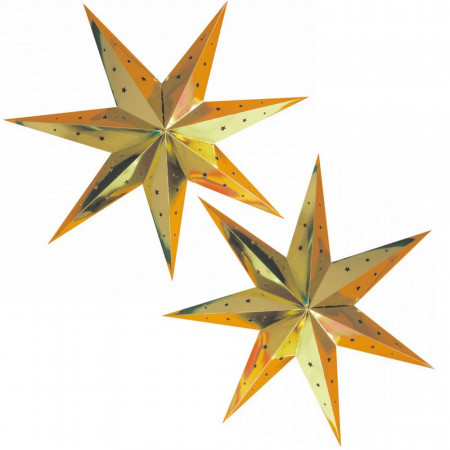 Lot of 2 large Golden star lanterns, dimension 70 cm, festive gold suspensions in perforated cardboard