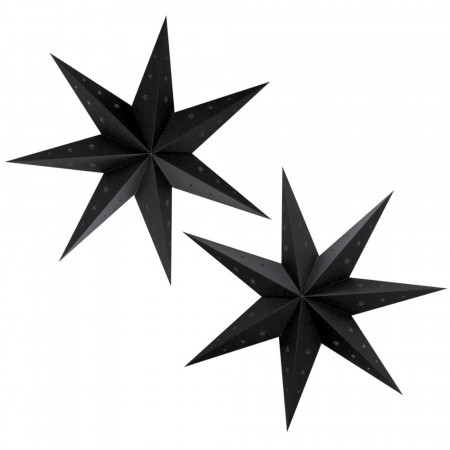 Lot of 2 large black star lanterns, dimension 70 cm, festive suspensions in perforated cardboard