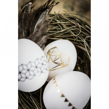 Set of 5 large white plastic eggs, 14cm high, to decorate, with hole for hanging, not separable