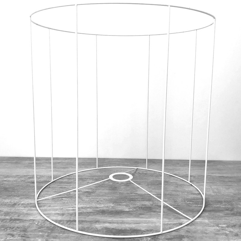 Large White Round Lampshade Frame, Height and Diam. 50 cm, diameter 38 mm Socket, to E27