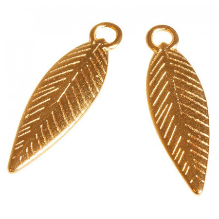 Set of 3 charms, Gold metal, Feather, long. 21mm, eyelet ø1.5mm, nickel free