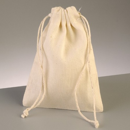 10 Natural cotton bags, 15 x 10 cm, with drawcord