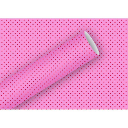 Set of 3 wrapping paper rolls, Small red dots on pink background, 70cm x 200cm, total length 6m, packaging 80g / m2