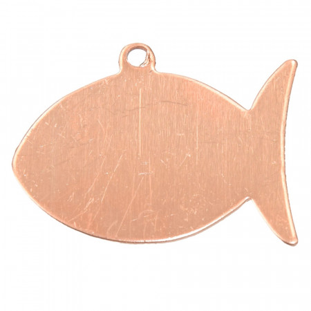 Set of 10 Pendants, copper, Fish, 1 hole, 30 x 22 mm, blank for enameling