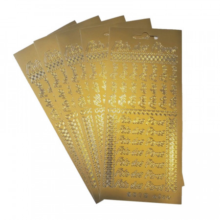 5 Hobbystickers Fête des Pères in French Golden, Plate 10 x 23 cm, peel off stickers for scrapbooking