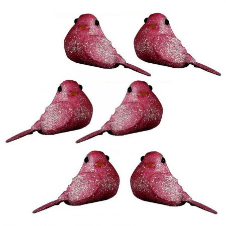 Lot of 8 Mini glittery birds, Fuchsia Pink, length 4cm x width 2.5cm, to place or stick for a festive decoration
