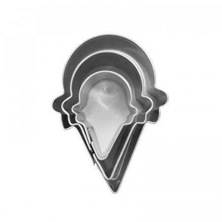 Set of 3 mini cookie cutters, Ice cream cones, Food grade stainless steel, long. 2.5, 3.5, 4 cm