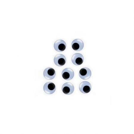 Set of 5 pairs of eyes with mobile pupils, diameter 4mm, to stick