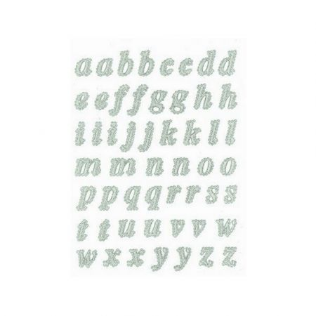 53 self-adhesive lowercase letters, in 3D lace, Repositionable alphabet decoration for any smooth backing