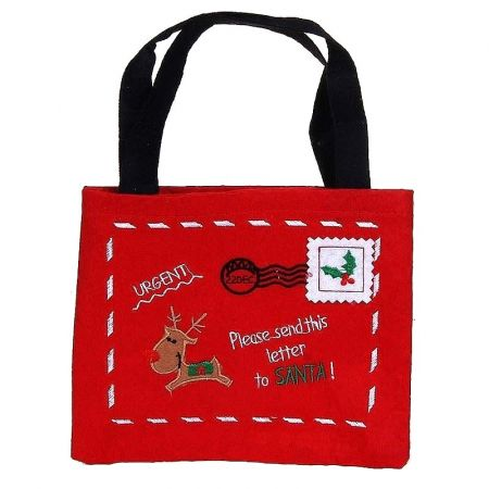 Christmas gift bag and letters, dim, 15 x 19 cm, red felt pouch and handles