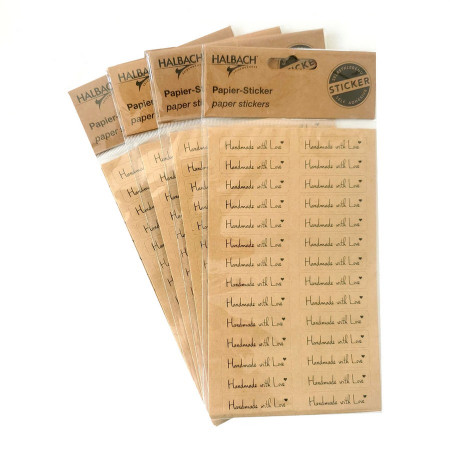 "Set of 112 paper Hobbystickers ""Handmade with Love"", 41 x 10 mm self-adhesive"