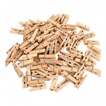 Set of 100 little Wooden clothes pegs, 3cm x 7,5mm x 4 mm, untreated