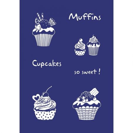 Pochoir autocollant Sweet Cupcakes, Muffins, Format A5, + raclette