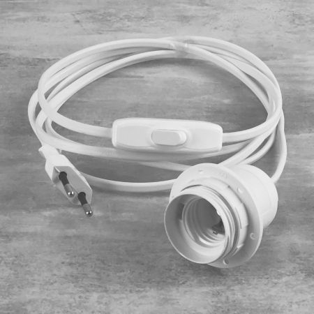 White electrical cable with E27 socket and switch, length 2 m, for the realization of a bedside lamp
