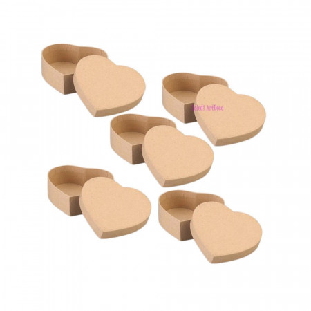 10 small boxes, heart-shaped, in cardboard, with lid, 6.5x6 cm x height. 4.5cm to decorate