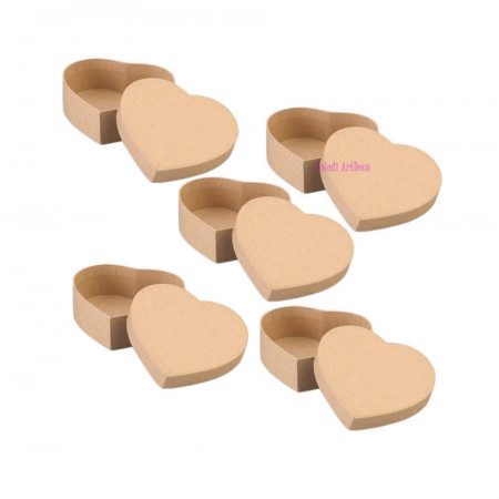10 small boxes, heart-shaped, in cardboard, with lid, 8.5x7.5cm x Height. 5cm, to decorate