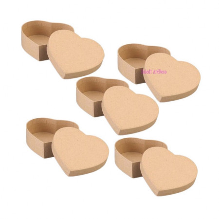 5 Boxes, heart-shaped, in cardboard, with lid, 10.5 x 9 cm x height. 6cm, to decorate