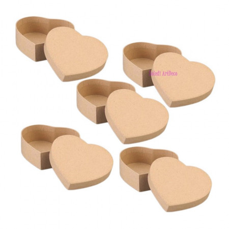 Set 5 Boxes heart-shaped, in cardboard, with lid, 12,5x11cm x height. 7cm, to decorate