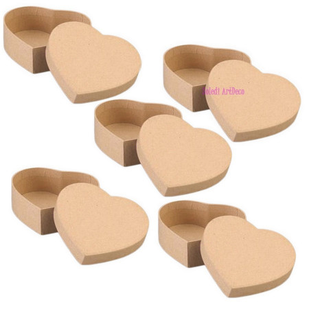 Set 5 big Boxes heart-shaped, in cardboard, with lid, 16.5x14cm x Height. 8cm, to decorate
