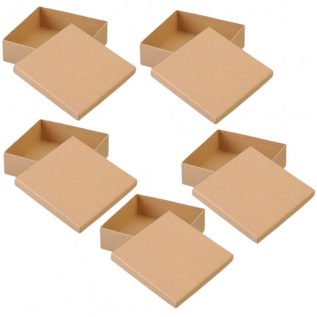 5 large cardboard boxes, square, with cover, side 16.5cm and 8cm high
