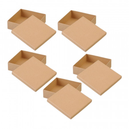 Set of 5 High square boxes with cardboard lid, side 12.5cm and 7cm high