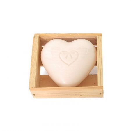 White Heart Soap with Cotton Flower, 100 gr, 7 x 7 cm, romantic and country decor