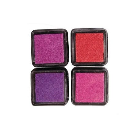 Kit of 4 Mini Girly Color Ink Pads, 3x3cm, Pink and Red Tones