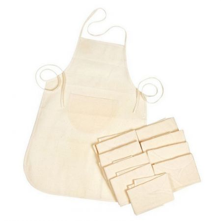 Lot of 10 DIY Aprons for Children, Thin and light natural cotton, with pocket, size 60 x 50 cm, to customize