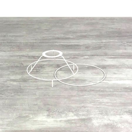 Small set of frames with legs, diam. 15 cm for lampshade, Round rings epoxy white, for lamp holder 40mm E27