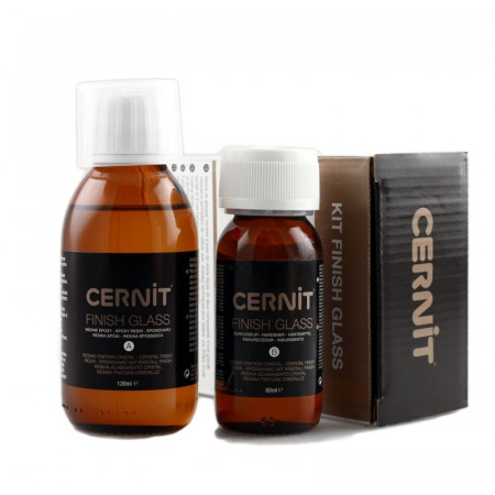 Epoxy resin kit, cernit finish glass, 120 ml + 60 ml, with accessories and instructions for use