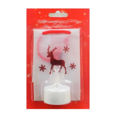 Paper lantern, height 11cm, red reindeer, LED tealight included
