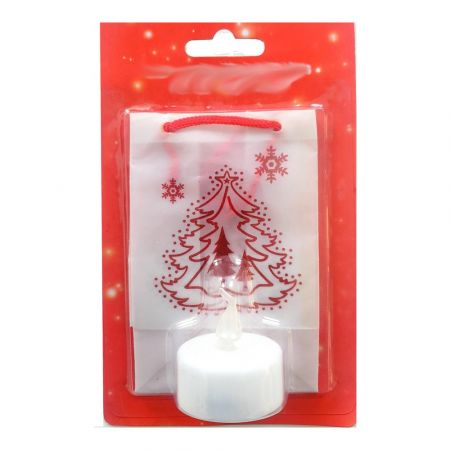 Paper lantern, height 11cm, christmas tree, LED tealight included