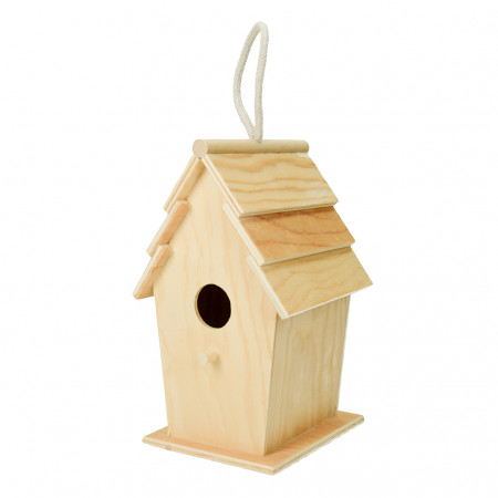 Bird shelter, in wood, rectangular, high. 22 cm, nest box to customize