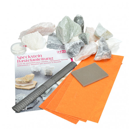 Soapstone and Tools Kit, 1.5 kg Soft stone, file, sandpaper, polishing paste