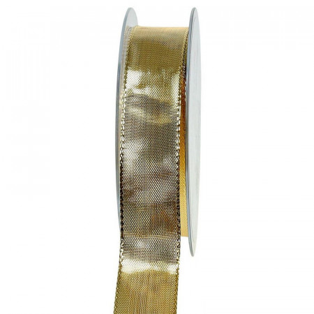 Wirered Ribbon gold, 25 mm wide, brass edges, roll of 19 meters