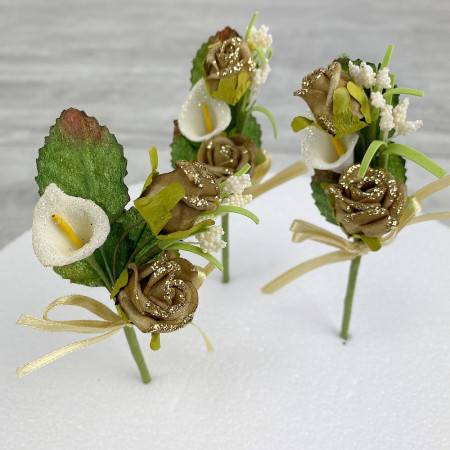 Lot of 3 small artificial bouquets, Roses and lilies, high. 10 cm, moss flowers, on stems