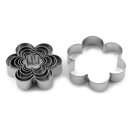 Set of 7 Stainless steel cookie cutters, Flowers, 2.5 to 9 cm, flower cutout