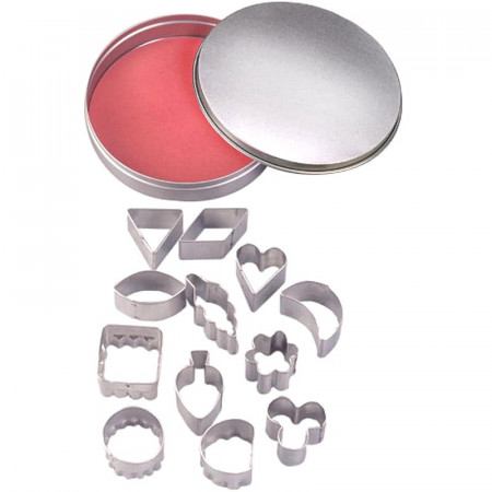 Stainless steel cookie cutters, 12 Geometric shapes, heart, leaf, from 2.2 to 3.2 cm