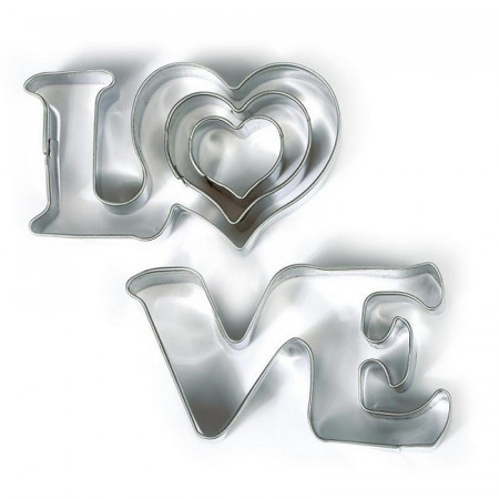 Love cookie cutters and 2 hearts, in food grade stainless steel, Diameter 2.3.6 cm