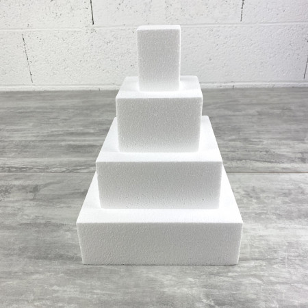 Small Square wedding cake Polystyrene Pro, 4 Levels, Height 28 cm, Base 20 cm